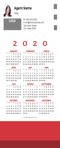 Picture of 2020 QuickCard Calendar Magnets - Simple Red
