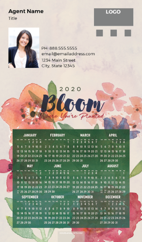 Picture of 2020 Custom Full Calendar Magnets: Executive - Bloom Where You're Planted