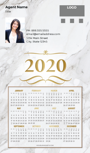 Picture of 2020 Custom Full Calendar Magnets: Executive - Marble Luxury