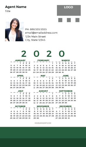 Picture of 2020 Custom Full Calendar Magnets: Executive - Simple Green