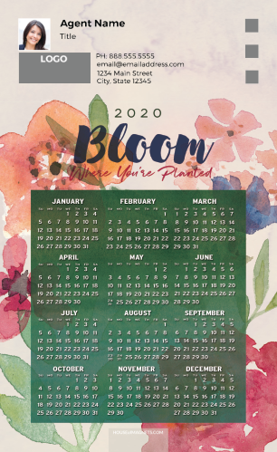 Picture of 2020 Custom Full Calendar Magnets: First Class - Bloom Where You're Planted