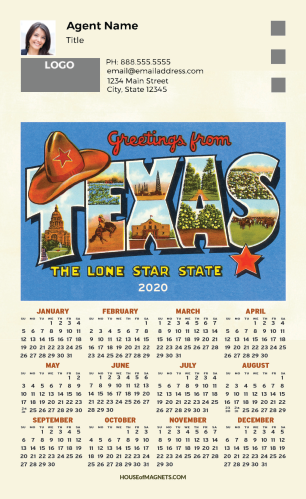 Picture of 2020 Custom Full Calendar Magnets: First Class - Vintage Texas