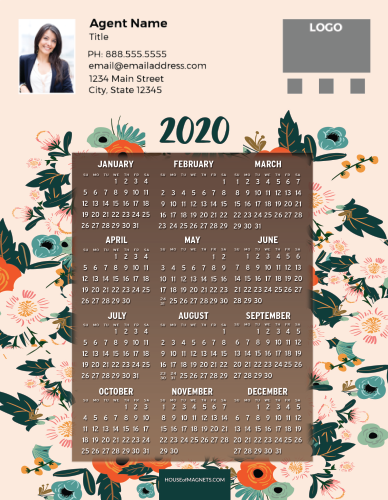 Picture of 2020 Custom Full Calendar Magnets: Jumbo - Colorful Blooms