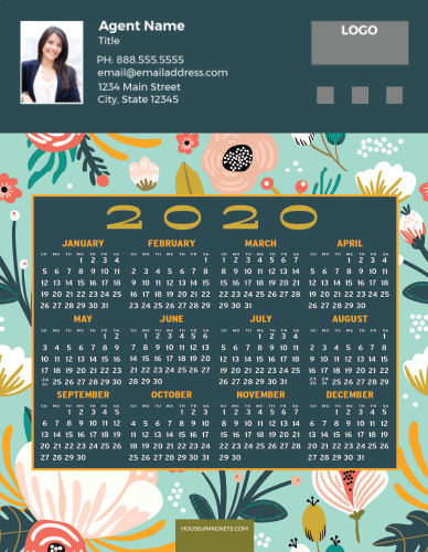 Picture of 2020 Custom Full Calendar Magnets: Jumbo - Exotic Blooms