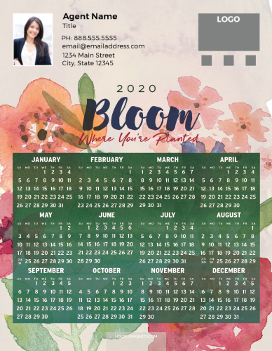 Picture of 2020 Custom Full Calendar Magnets: Jumbo - Bloom Where You're Planted